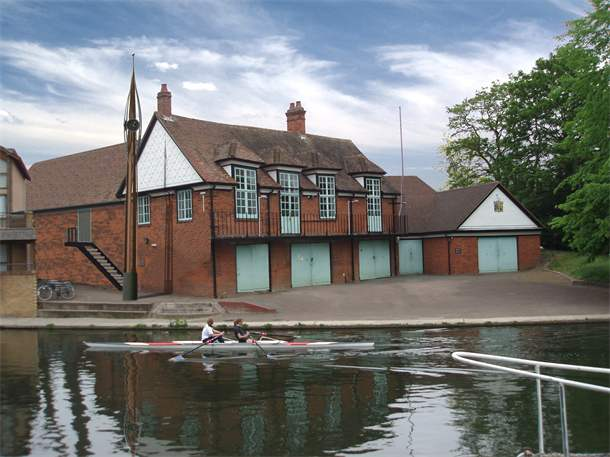Caius College Boathouse: clock Tower